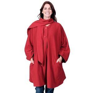 Le Moda Red Knit Fleece Wrap & Glove Set